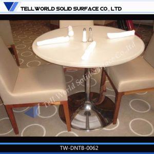 白いアクリルの固体表面のレストランの家具のダイニングテーブル