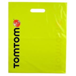 Firmenzeichen-Drucken biodegradierbarer Plastik gestempelschnittene PET Einkaufstasche Hf1502 kundenspezifisch anfertigen