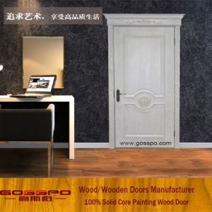 Portello interno di legno solido di colore di bianco e di alta qualità (GSP2-076)