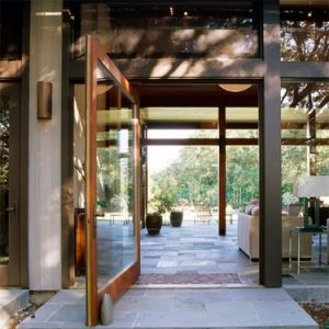 高品質の緩和されたガラスのアルミニウムピボットドア