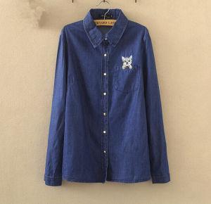 Signore Cotton 100% Slim Denim Long Sleeve Jeans Shirts con Good Quality