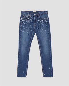 As mulheres Senhora Coton de cintura elevada esticar Bordados Fashion Skinny Fit Jeans denim azul