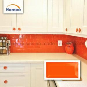 Cocina naranja puros biselado Backsplash baldosas mosaico Mosaico Metro