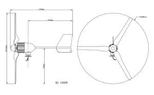 2017 de Hete Verkopende Turbogenerator van de Wind van China 1kw 24V/48V Horizontale met de Certificatie van Ce
