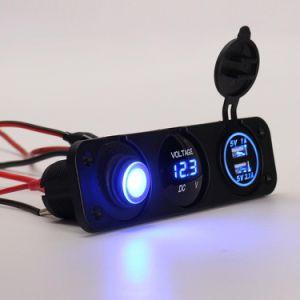 Universal 12V LED azul de voltímetro 3.1A USB doble interruptor basculante de cargador de coche grupo