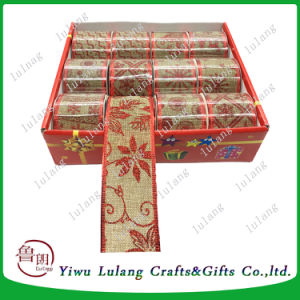 Nastro rosso all'ingrosso di natale della tela da imballaggio della iuta per lo spostamento di regalo