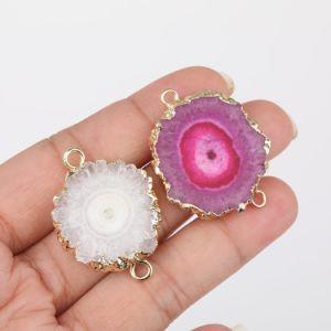 Personalizado de forma libre al por mayor especial colorido Girasol natural de piedra de Ágata encantos Conector para la fabricación de joyas de moda