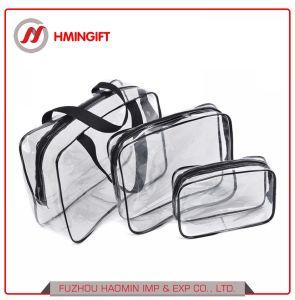 3piece/Set安く明確なジッパーPVC袋旅行防水装飾的な構成袋の透過ポリ袋
