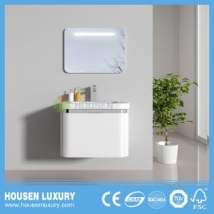 2018 Hot interruptor táctil LED Lupa High-Gloss espejo redondo de PVC Pintura tocadores de baño de arco de HS-O1102-900