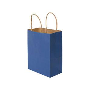 Plaine sac de papier artisanal bleu décoré faite de carton (YH-PGB005)
