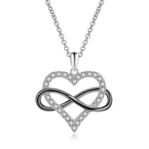 Serviço de joalharia personalizada 925 Sterling Silver Coração infinito amor jóias Colar pendente para o engate de casamento