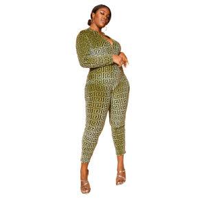 L55946 Cremallera Plus Size Jumpsuit de impresión