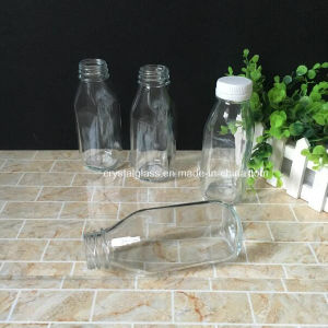 Praça francesa 300ml 500ml de leite garrafa de sumo de vidro com tampa de plástico