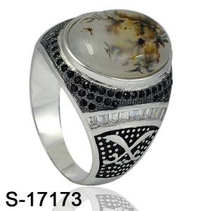 Späteste Entwürfe 925 Sterlingsilber-Mann-Ringe mit natürlichem Stein