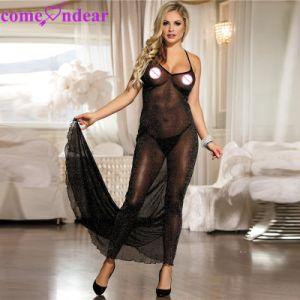 Commerce de gros de la romance de minuit noir robe lingerie pour femmes