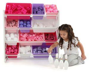 خشبيّة خزانة لعبة تخزين [نورسري سكهوول فورنيتثر] مع 12 خانة بلاستيكيّة