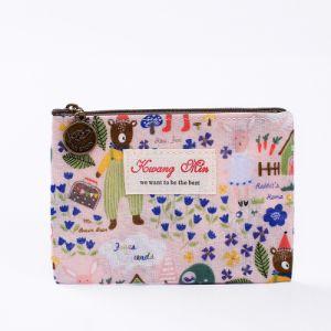 Commerce de gros Hot Sale coton sac cosmétique avec fermeture à glissière