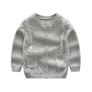 Tasti del cardigan cinque dei bambini, maglione rotondo di inverno del collo