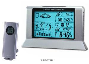 Stazione metereologica di rf & orologio controllato radiofonico con tempo del mondo (ERF-571D)