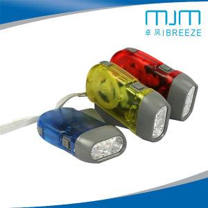 El mejor regalo promocional Mini Dynamo LED Linterna Manivela, la mano presionando