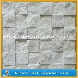 自然なカラーラの白い大理石の石塀のモザイク、白いモザイク・タイル