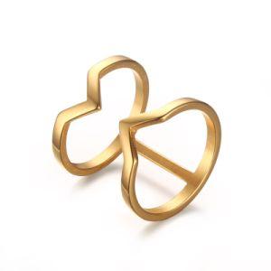 Moda personales anillo doble de la mujer en oro. Roes-Gold
