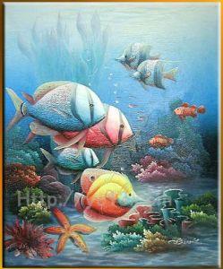 De Kunst van de muur onder het Met de hand gemaakte Olieverfschilderij van de Overzeese Vissen van de Scène op Canvas