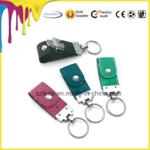 革USBの棒のペン駆動機構のキーホルダーのフラッシュディスク革USBのフラッシュ駆動機構