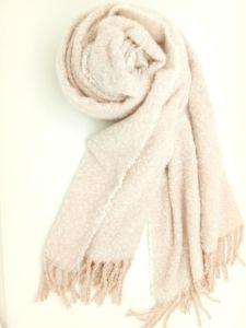 女性Winter方法Knittigの柔らかいBoucleによって編まれる小切手毛布のスカーフ