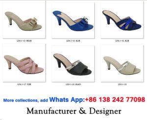 Mode féminine Chunky haut talon chaussures chaussures sandales Pantoufle de boucle