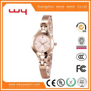 El lujo de moda Dama fina analógico de Pulsera Reloj de Oro (WY-010)