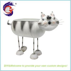 Design exclusivo material metálico em forma de gato Flower Pot de recreio
