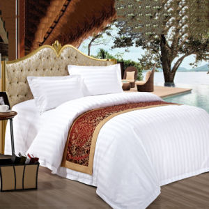 A roupa de cama 100% algodão 3cm Striped Lençol definir conjunto de roupa de cama de hotel