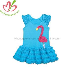 Moda verão Flamingo Bordados Menina Ruffle vestido de bolo