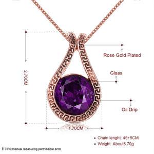 普及した低下の形の吊り下げ式のネックレスのガラス吊り下げ式のローズの金によってめっきされる合金材料