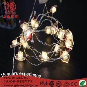 Seguridad de la batería de LED de alambre de plata de Papá Noel luces decorativas cadena cobre