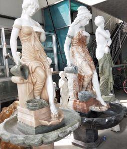 Jardim exterior estátua de pedra Escultura Fonte da parede de água