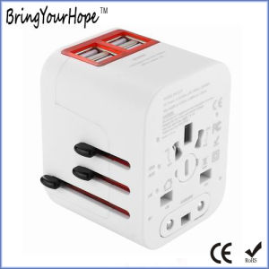 Adaptador de energia para viagem Universal preto com 4 carregador USB (XH-UC-014)