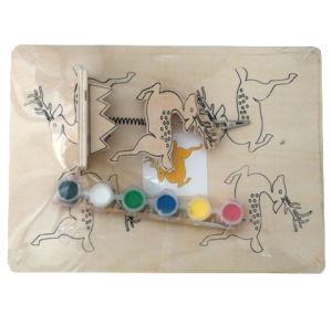 A aprendizagem precoce de bricolage padrão animais ; Pintura em aquarela de madeira brinquedo para o Desenho do bebé