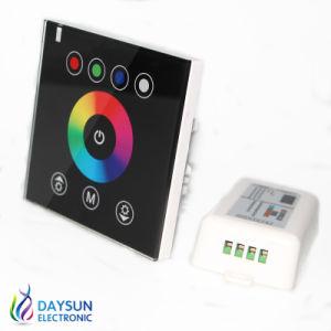 Novo Controlador RGB LED do painel de toque montado na parede de vidro de cristal do interruptor do painel controlador para produtos LED 220V Painel Sem fio Controlador 12V
