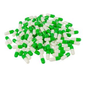 Tamaño 00 Halal de color blanco y verde cápsula de gelatina vacía
