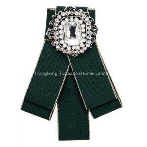 Legame di arco lungo di modo del legame di arco di Pin del Brooch del foulard del collo della gala del fiore di cristallo di Boutonniere delle donne per la festa nuziale (J03)