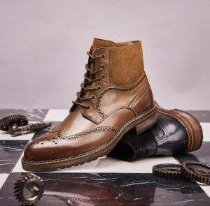 Botines cortos hombres zapatos de cuero auténtico