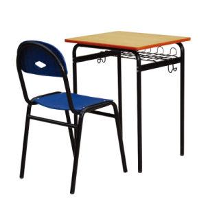 Hölzerne Schule angebrachter Schreibtisch-Stuhl mit Metallrahmen