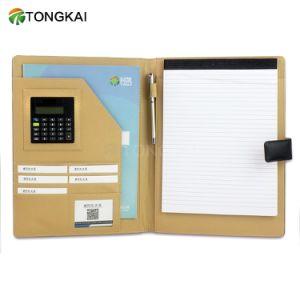 Het a4-Papier van het Bureau van de kantoorbehoeften de Omslag van het Dossier van het Leer van de Organisator