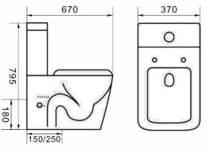 Washdown планки 150/220mm водяной знак Китая назад для того чтобы огородить двухкусочный туалет (6014)