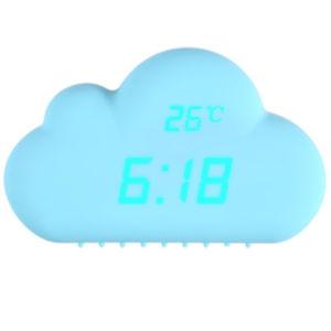 デジタル時計の音制御アラーム時間温度の日付の雲のクロック