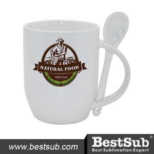 Promotional Ceramic White 11oz Sublimation Spoon Mug (B11S-11)