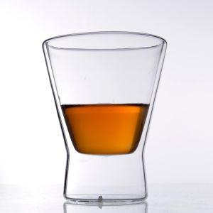 Tazza di vetro libera doppia di vendita calda della tazza di Pyrex del regalo