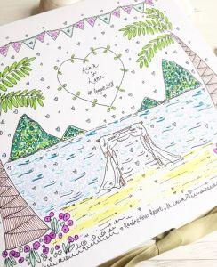 Caraïbisch Huwelijk, het Huwelijk van de Bestemming, Geïllustreerdem Hand. Het Huwelijk van het strand, de Doos van het Geheugen. De besproken & Gepersonaliseerde Doos van de Herinnering van het Huwelijk